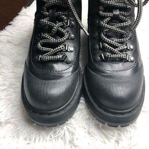 Prada Shoes - Prada Leather Nylon Hiking Combat Black Boots